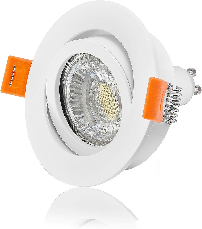 Ledox Led Einbaustrahler Set dimmbar & schwenkbar inkl. Einbaurahmen Forma 230V 6W Gu10 2700k warmwei Decken-einbau-strahler-leuchte-lampe-spot-innen-raum-beleuchtung Ra 90 (5er Set)