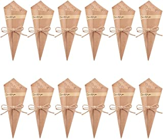 WANDIC Kraft Paper Cones, 50 Pcs Retro Bouquet Paper Holder Wedding Confetti Cones Candy Cones Food Boxes with Hemp Rope Label and Sticker Tape
