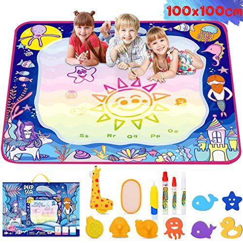 lenbest Agua Dibujo Pintura, Esteras de Agua Doodle, Alfombra de Agua Doodle para Niño(2 3 4 5+ Años de Edad), Impermeable, Antideslizante, 14 Colores del Arco Iris, Kit de Rodillos Único