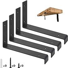 JOLIGAEA 4 stuks metalen plankhouders, wandmontage, plankdragers met schroeven en ankers, maximaal draagvermogen 100 kg, k...