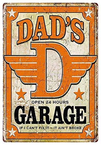 Cartel de chapa de 20 x 30 cm, arqueado para dad's Garage If I Can´t Fix It Ain´t