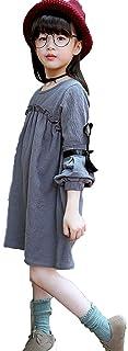 Meng Fan ガールズ 子供服 お姫様 レーススカート 長袖 無地 かわいい丸首 春 綿 長いデザイン レースワンピース カジュアル プリンセス スカート 演奏会 発表会 チュニック顕やせている