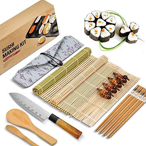 Kit Sushi Maki Complet, Cuisine Sushi Maker 14 Pieces,Compatible Avec Riz Japonais, Set Ustensiles Avec Couteau Pour Une Fabrication Parfaite De Sushis, Natte Et Ebook Recettes Inclus.