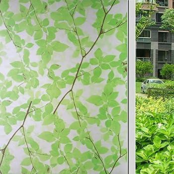 HOYOYO Self Adhesive Glass Window Films 17.7inch x 78.7 inch Privacy Window Decorative Frosted Static Cling Film Tree Leaf