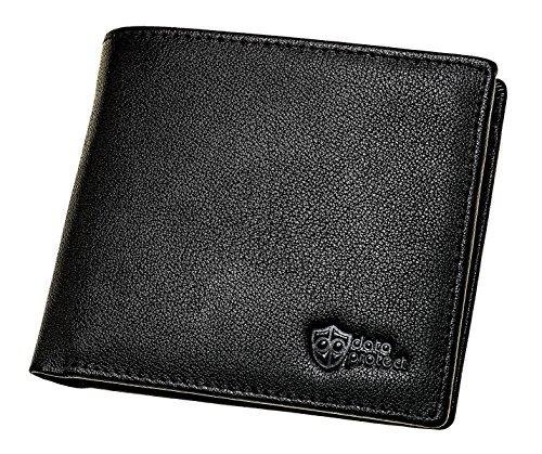 Portafoglio di pelle nera con protezione RFID per carte di credito, carte di debito e carte d'identità