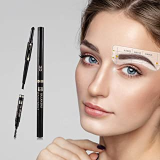 Eyebrow Stencil Kit- 32 Pair of Low Arch Eyebrow Stencil Sticker with 1 Black Pencil for Soft Angled Eyebrow Shape - Easy Use Brow Stencil Kit for Girl & Woman, BQ Beginner Pro Brow Stencil Template