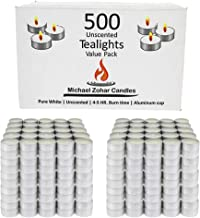 Tealight Candles 500 Pack - 4-5 Hour Burn Time - Paraffin-Free - Unscented Candles Bulk Pack