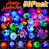 Coluans Halloween Treats 50P Halloween LED Ring Light Up Rings Toys Kids and Adults Glow in The Dark Halloween Party Favor for Kid LED Flash Rings Non Candy Gift Bag Fillers