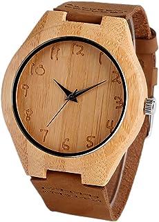 LRHD Natura Wood Women Donne orologi simpatici numeri arabi quadrante al quarzo bambù creativo orologio da donna creativo ...
