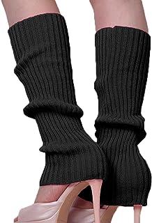 Song Qing Girls Teen 80s Dance Plain Ribbed Knit Crochet Leg Warmers