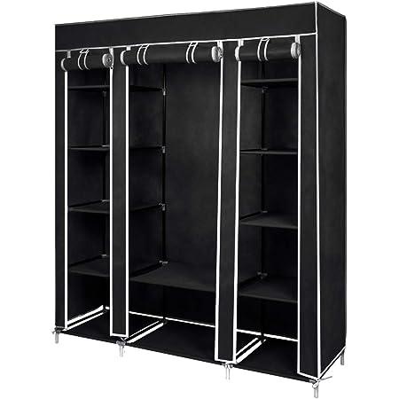 Meerveil Armoire en Tissu Penderie de Vêtement en Toile Mobilier de Chambre Rangement de Vêtements Unique Tringles à Vêtements (Noir)