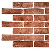Dundee Deco PG7064 Vintage Brown Faux Brick, 3.4 ft x 1.6 ft, PVC 3D Wall Panel, Interior Design Wall Paneling Decor, 5.5 sq. ft.