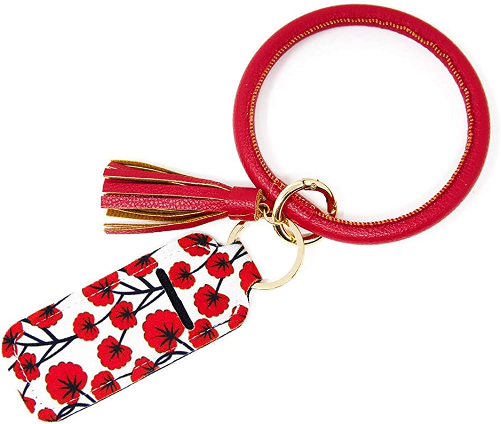 Red Leather Key Ring Bracelet Keychain for Women Wristlet with Circle Keyring and Neoprene Chapstick Lipstick Holder by Jackson and Co.…