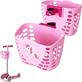 MINI-FACTORY Kid's Scooter Basket for Kid Girls,  Cute Cartoon Pink Unicorn Pattern Scooter Accessories Front Carrying Basket - Pink