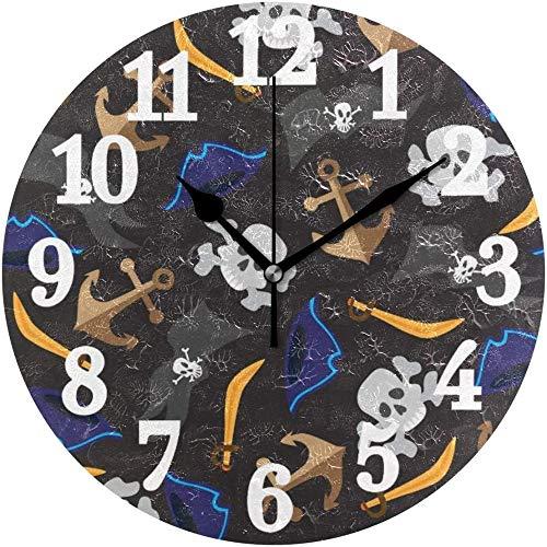 SXXXIT Reloj de Pared Redondo Pirate Anchor Skull Home Art Decor Reloj para Oficina en casa