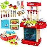 Kinderküche Spielküche Kinderspielküche Spielzeug Küche mit LED & Soundeffekten