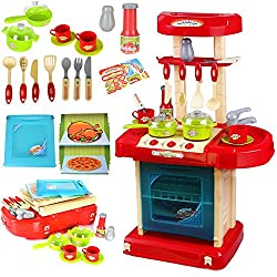 Reelva Portable Red Toy Kitchen Cooker Oven Playsets with Pans for Children's Role Play Pretend Set Toy it is ideal toy for Age 3+ ,Encourage kids to have role playing, Learning and Communication Activity Material: high quality plastic for games, Coo...
