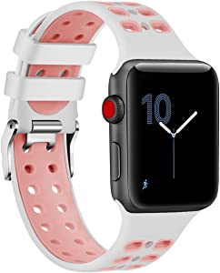 EloBeth Watch Bands Compatible with Apple Watch 44mm 42mm Band Series 5 4 3 2 1 iWatch Sport Silicone Band Stripe Color Splicing (42mm/44mm Blue & White)