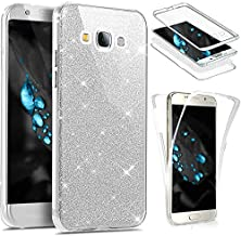 for Samsung Galaxy J1 2016 Case,Galaxy Luna Case,Galaxy Amp 2 Case,Express 3 Case,PHEZEN Front and Back 360 Full Body Coverage Bling Glitter Shiny Soft TPU Silicone Protective Case (Silver)