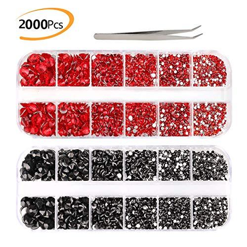 2000+ Stück Strasssteine zum Basteln, Phogary Rot & Schwarz, flache Rückseite, 6 Größen (2-5 mm) mit Pinzette zum Basteln, Nageldesign, Kleidung, Schuhe, Taschen, Handyhülle