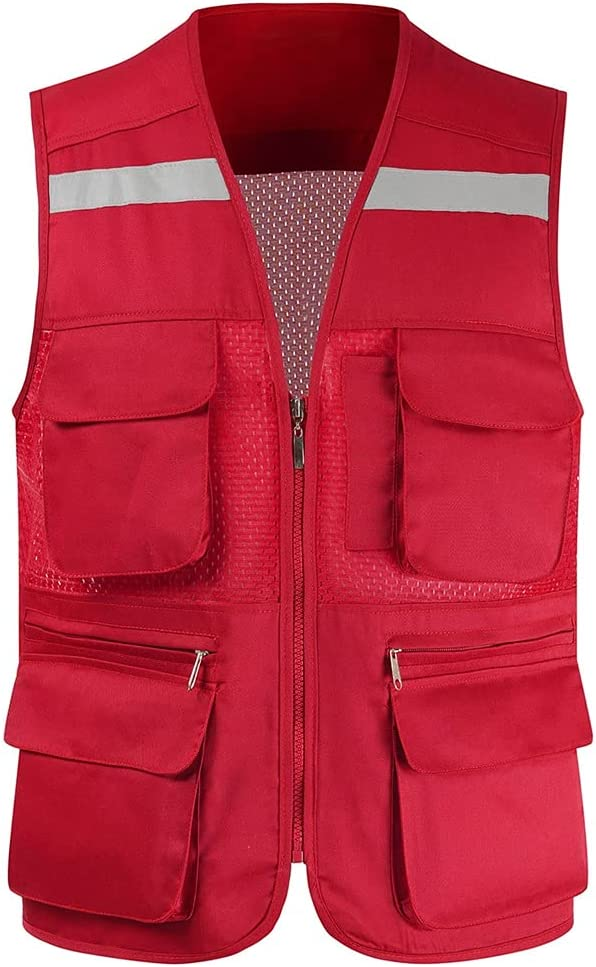 lhl Bright Reflective Vest High Zipper Mesh Multifunctional Max 86% OFF Courier shipping free shipping Pock