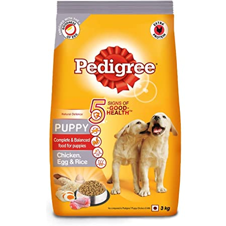 Pedigree Puppy Dry Dog Food, (High Protein Variant) Chicken, Egg & Rice, 3 kg
