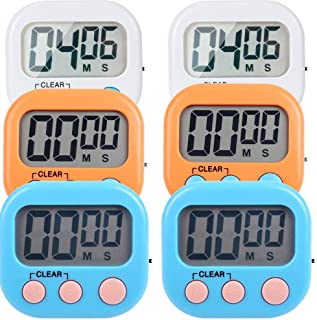 LinkDm 6 Pack Small Digital Kitchen Timer Magnetic Back and ON/Off Switch,Minute Second Count Up Countdown