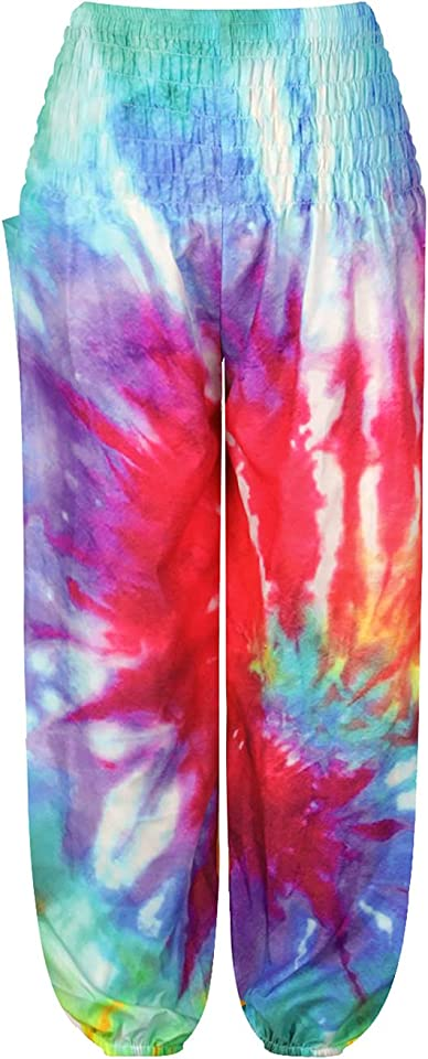 Mädchen Pumphose Haremshose Blumenmuster mit Tasche Lange Hose Hippie Boho Hose Kinder Aladinhose Sommerhosen Pants