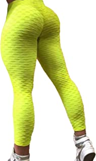 e0c87f9b5471d FITTOO Womens High Waist Textured Workout Leggings Booty Scrunch Yoga Pants  Slimming Ruched Tights