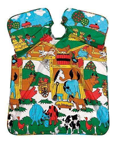 Best-Cut - Capa infantil de peluquería, diseño de animales de granja, 90 x 125 cm, resistente al agua, lavable