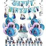 Decoración de Cumpleaños Frozen Globos Pancarta de Feliz Cumpleaños Adorno para Tarta Congelada Remolinos Colgantes para Niños Niñas Fiesta de Cumpleaños Decoracion