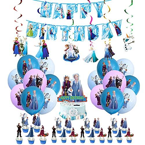 Decorazioni di Compleanno Frozen Palloncini Striscioni di Buon Compleanno Torta Topper Congelata Decorazioni Spirale per Bambini Ragazze Decorazioni per Feste di Compleanno