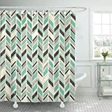 KUKUALE 1 Piece Blue Zigzag Pattern In Gray and Green Pastel Colors Shower Curtain Waterproof Polyester Fabric Set with Hooks 180X180Cm(71X71In)