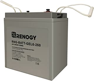 Renogy 6 Volt 260Ah Deep Cycle Pure Gel Battery Golf Cart, Marine and RV Battery Maintenance Free