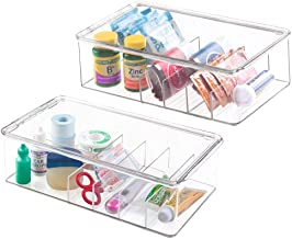 mDesign Stackable Plastic Storage Bin Box with Lid - Divided Organizer for Vitamins, Supplements, Serums, Essential Oils, Medicine Pill Bottles, Adhesive Bandages, First Aid Supplies - 2 Pack - Clear
