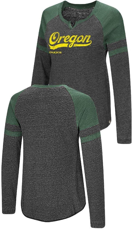 Colosseum Ladies Oregon Ducks Heather Black Bubbilicious Long Sleeve T Shirt