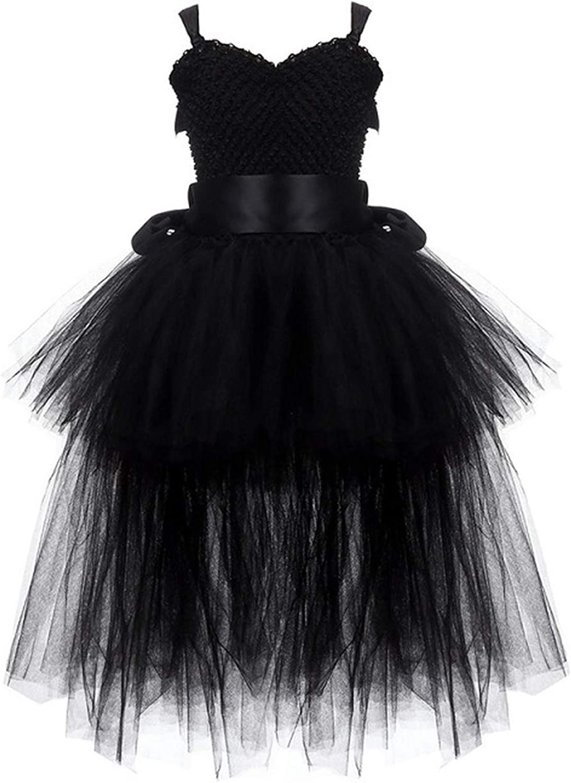 Black Girls Tutu Dress Tulle VNeck Train Girl Evening Birthday Party Dresses Kids Girl Ball Gown Dress Halloween Costume 28Y,Black,8