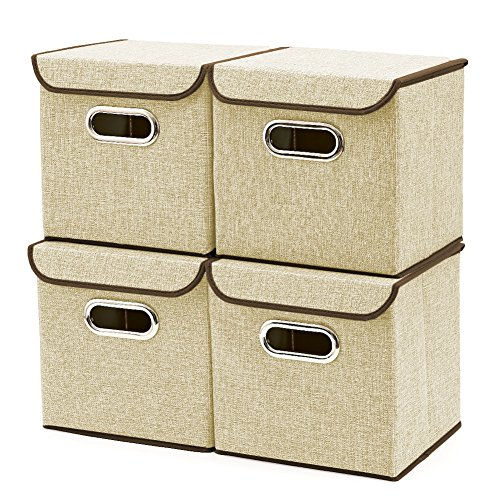 Storage Boxes with Lid [3-Pack] EZOWare Linen Fabric Foldable Basket Cubes Organizer Bin Box Containers Drawers with Lid for Office Nursery Bedroom Shelf (9x9x9 inch) (Beige)