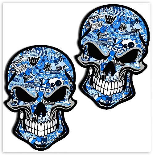 SkinoEu® 2 x PVC Laminado Adhesivos Pegatinas DC Stickers Bomb Calavera Cráneo Punisher para Motociclista Autos Coches Motos Ciclomotores Bicicletas Ordenador Portátil Regalo B 50