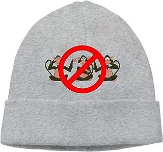 Ghhpws Cute Monkey Hear See No Evil Beanie Wool Hats Knit Skull Caps Warm Winter Beanies for Men Women Ash