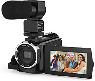 Andoer 4K 1080P 48MP WiFi Digital Video Camera Camcorder Recorder with External Microphone Novatek 96660 Chip 3inch Capacitive Touchscreen IR Infrared Night Sight 16X Digital Zoom