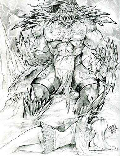 DAVE MILLER original published art, DOOMSDAY vs SUPERGIRL, 9' x 12', 2013