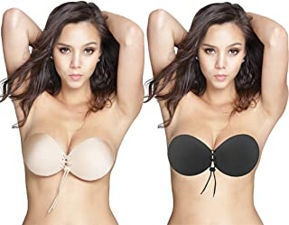 Oolala Round Bra 2-Pack Backless Strapless Sticky Bra for D DD Cup