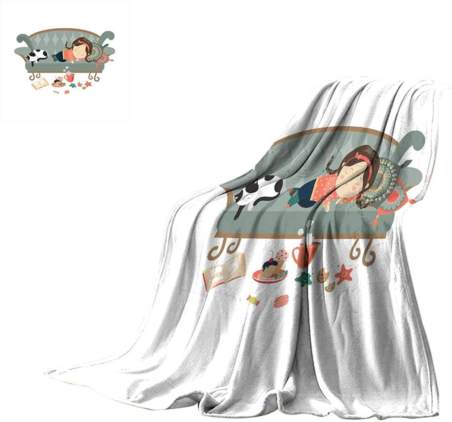 RenteriaDecor Kitten,Blanket Sleeping Young Girl with Her Cat at Sofa Coffee Cookies Book and Candy Pastel colors Blanket for Bed Couch W60 x L50 inch