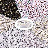 Cheriswelry 1700 cuentas de corazón de alfabeto de acrílico, disco redondo plano, letra A-Z, espaciador de corazón, cuentas sueltas con hilo de cristal elástico para hacer pulseras