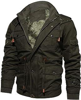 WUAI-Men Winter Coat Thicken Warm Casual Multi-Pocket Outwear Fleece Fur Coats Cargo Jackets Tops