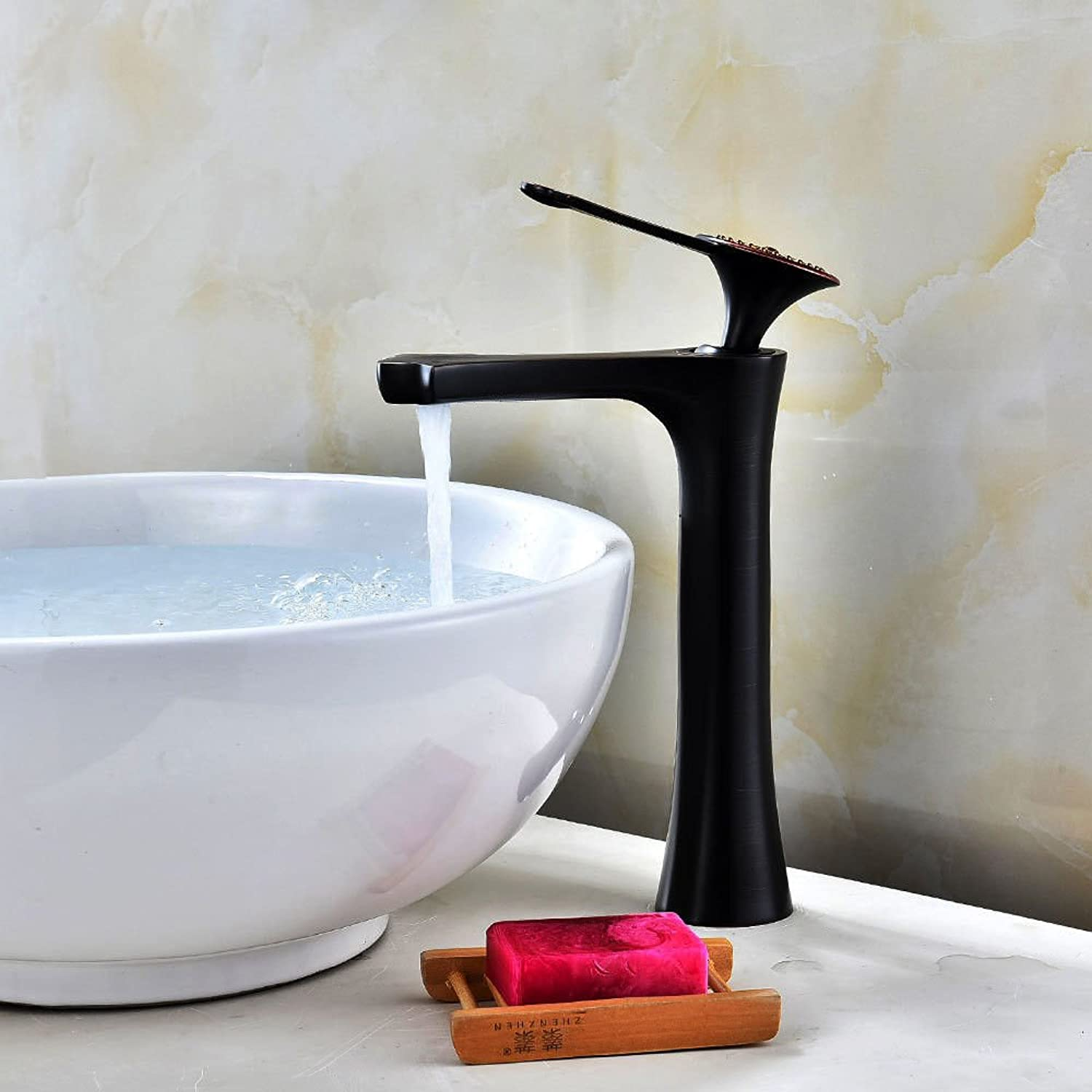 AQMMi Bathroom Sink Faucet Basin Mixer Tap Black Oil Rubbed Bronze Single Lever Single Lever Hot and Cold Water Basin Sink Tap Bathroom Bar Faucet