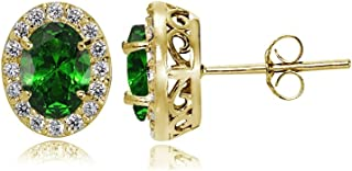 Yellow Gold Flashed Sterling Silver Genuine, Created or Simulated Gemstone and Cubic Zirconia Accents Oval Halo Stud Earrings