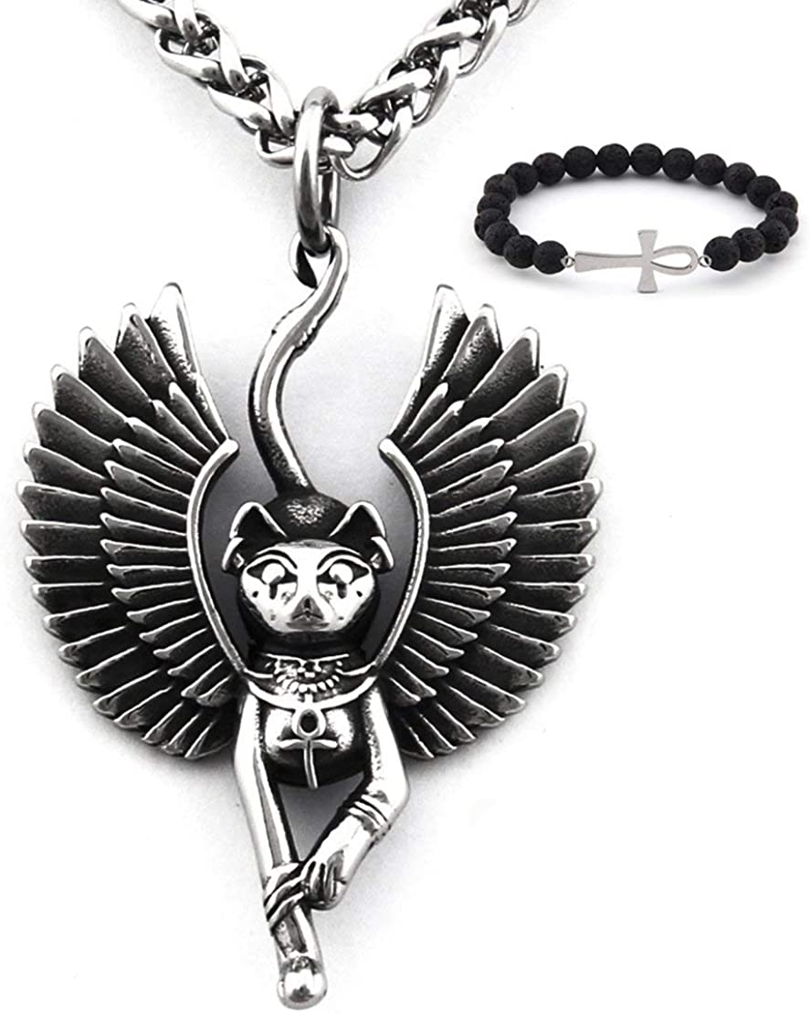 Black and Gold Egyptian Sphinx and Snake Crescent Choker