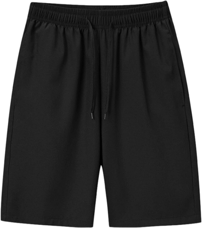 Segindy Men's Quick Dry Shorts Summer Thin Fashion Solid Color Casual Drawstring